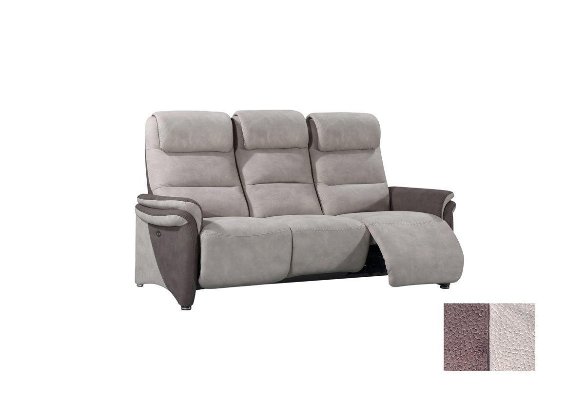 Soft confort canap 3 places relax electrique en tissu for Canape relax 3 places tissu