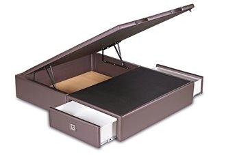 INES - Lit Coffre en 140x190cm avec 2 tiroirs en Tissu ou Simili Cuir à personnaliser