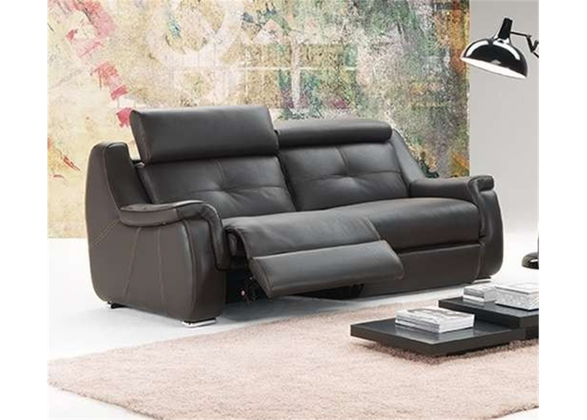 babylone canap 2 places relax manuel en cuir de vachette et pu. Black Bedroom Furniture Sets. Home Design Ideas