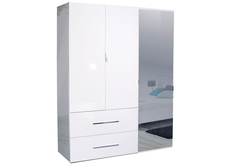 fresnay armoire 3 portes et 2 tiroirs blanc laqu. Black Bedroom Furniture Sets. Home Design Ideas