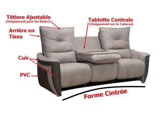 APOGEE - Canapé 3 places Relax Electrique en Tissu