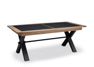 MAGELLAN - Table pieds X en 170cm en bois avec 1 allonge bois