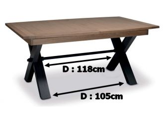 MAGELLAN - Table pieds X en 170cm en Céramique avec 1 allonge céramique