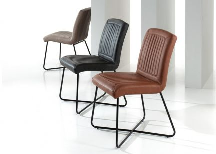 WENDY - Chaise en Simili Vintage et pieds Métal